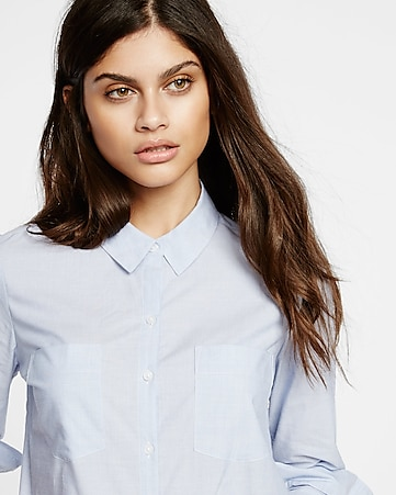 blue tailored full button shirt