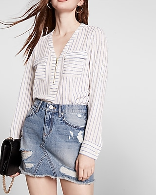 Express Womens Striped Long Sleeve Zip Front Blouse