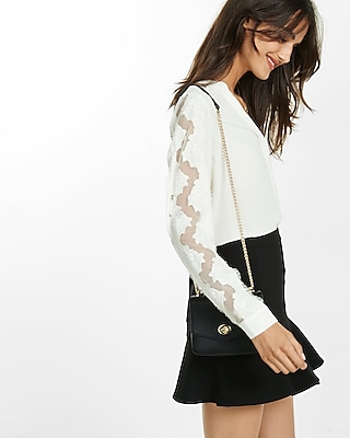 Express Womens Scalloped Lace Sleeve Shirt