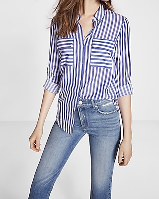 Express Womens Striped Convertible Sleeve City Shirt By Express