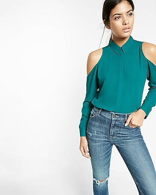 Express Womens Slim Fit Cold Shoulder Shirt Green XX Small