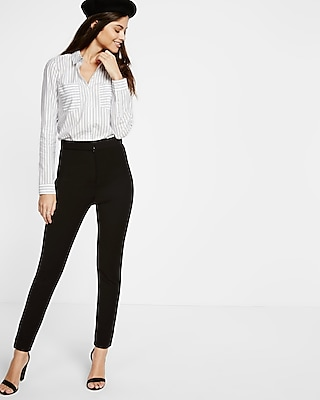 Express Womens Striped Tailored Full Button Shirt