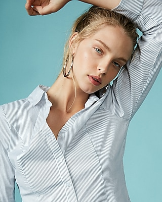 Express Womens Stripe Y-Neck Essential Shirt