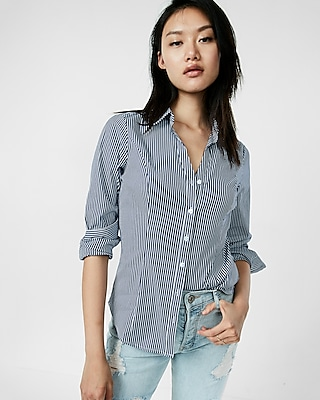 Express Womens Stripe Y-Neck Ultimate Essential Shirt