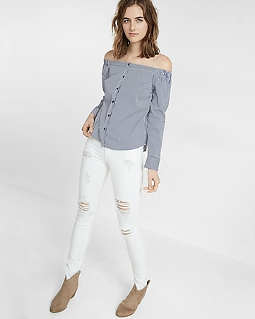 striped off-the-shoulder button-up shirt