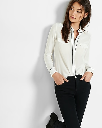 silk flap pocket shirt