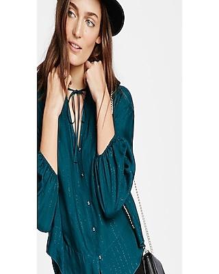 Express Womens Chiffon Tie Neck Shirt