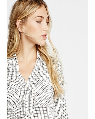 Express Womens Slim Fit Windowpane Print Portofino Shirt