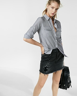 Express Womens Thin Stripe City Shirt By Express