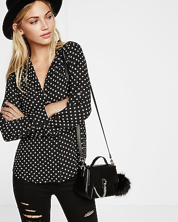 printed notched lapel blouse