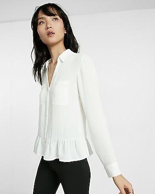 Express Womens Original Fit Ruffle Hem Solid Portofino Shirt