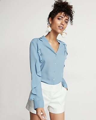 Slim Fit Ruffle Sleeve Portofino Shirt