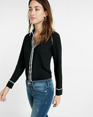 Express Womens Slim Fit Contrast Piping No Pocket Portofino Shirt