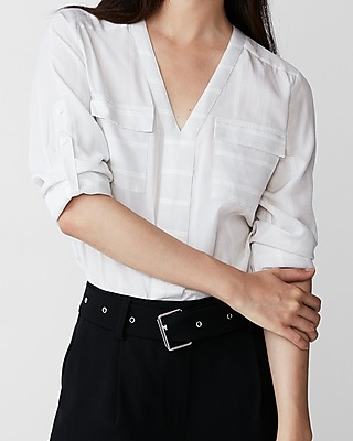 Express Womens Petite Striped Two Pocket Shirt