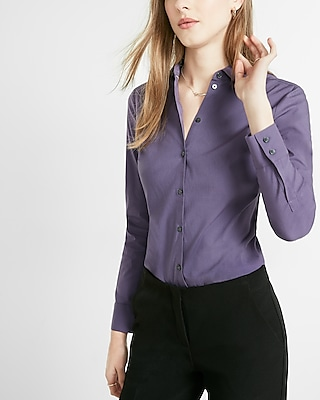 Express Womens Slim Fit Long Sleeve Essential Shirt Purple XX Small