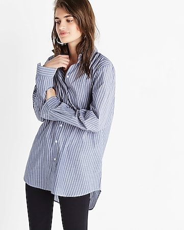 oversized striped button-up shirt