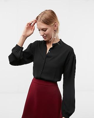 Express Womens Oversized Stand Collar Shirt