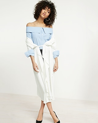 Striped Point Collar Off The Shoulder Shirt