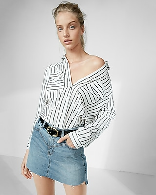 Express Womens Striped Embroidered City Shirt By Express