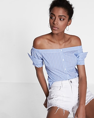Express Womens Striped Off The Shoulder Button Front Blouse