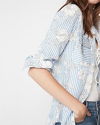 Express Womens Petite Stripe Floral City Shirt By Express