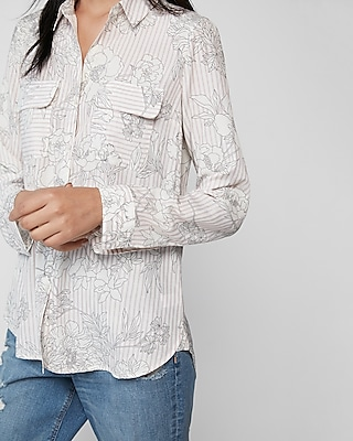 Express Womens Petite Floral Stripe City Shirt By Express