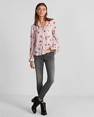 Slim Fit Floral Flare Sleeve Portofino Shirt