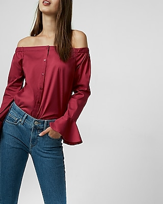 Bell Sleeve Off The Shoulder Shirt