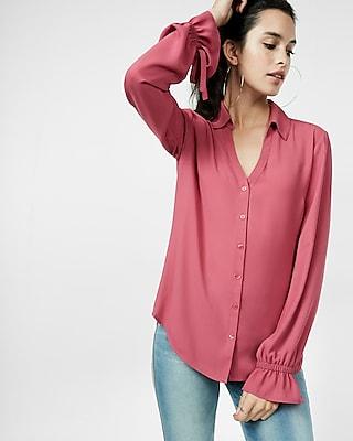 Express Womens Slim Fit No Pocket Cinched Cuff Portofino Shirt