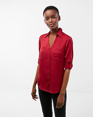 Express Womens Petite Slim Fit Satin Portofino Shirt