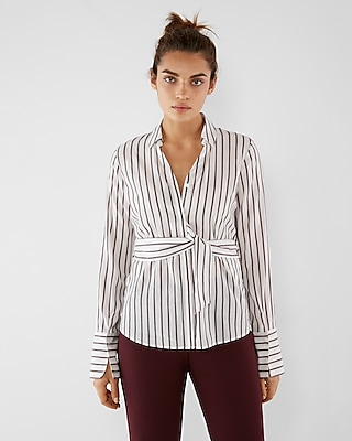 Express Womens Striped Belted Shirt