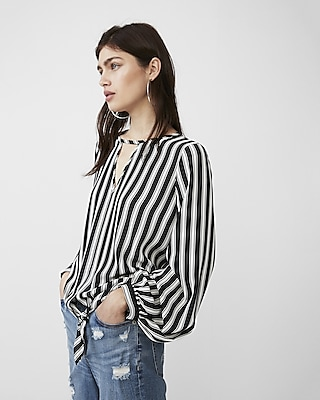 Express Womens Stripe Tie Front Volume Sleeve Blouse