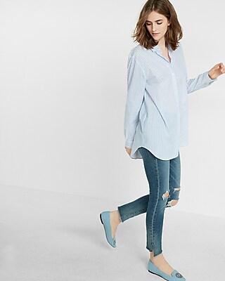 Express Womens Striped Long Sleeve Oversized Shirt