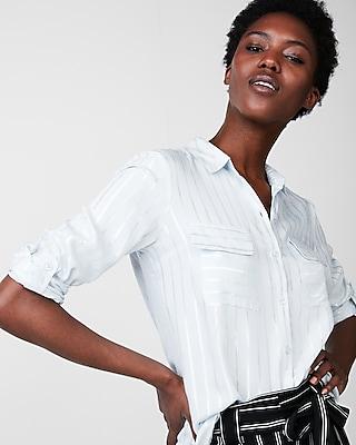 Express Womens Metallic Striped City Shirt By Express