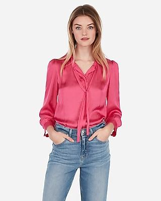 Express Womens Satin Tie Neck Button Front Shirt Pink Women's Xs Pink Xs