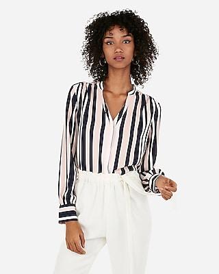 Express Womens Striped Button Back Slit Shirt