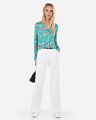 Express Womens Paisley Cropped Pajama Collar Shirt