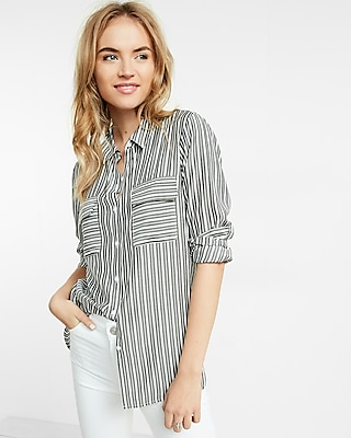 Express Womens Multi Stripe City Shirt By Express