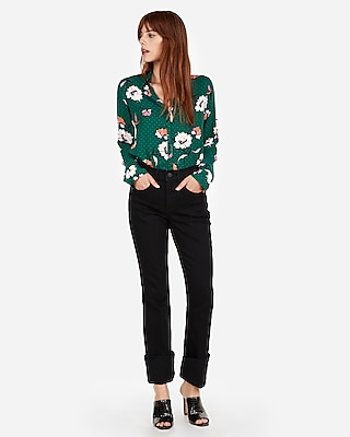 Express Womens Petite Floral Dot Covered Button Shirt