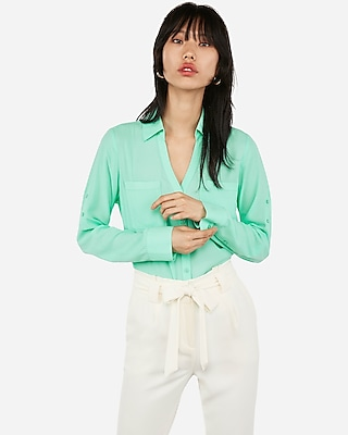 Express Womens Original Fit Portofino Shirt Green X Large