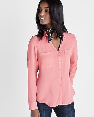 Express Womens Express Womens Original Fit Convertible Sleeve Portofino Shirt Pink Xx Small