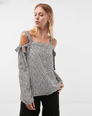 Express Womens Printed Cold Shoulder Shirt