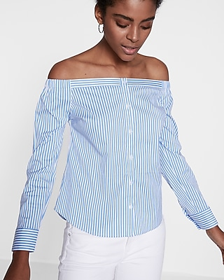 Express Womens Striped Off The Shoulder Button Front Blouse Stripe X Small