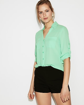 Express Womens Slim Fit Convertible Sleeve Portofino Shirt Green Women's Xxs Green Xxs