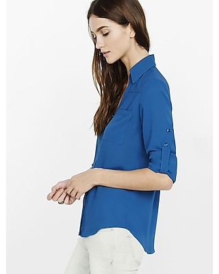 Express Womens Slim Fit Convertible Sleeve Portofino Shirt Blue Xx Small
