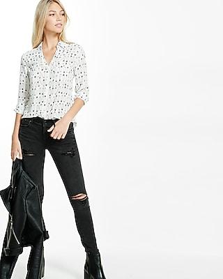 Express Womens Slim Fit Safety Pin Print Portofino Shirt
