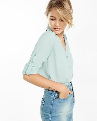Express Womens Express Womens Slim Fit Convertible Sleeve Portofino Shirt Blue Xx Small