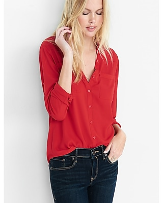 Express Womens Original Fit Convertible Sleeve Portofino Shirt Red X Small