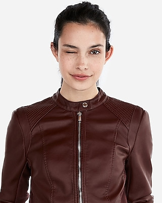 Express Womens Petite Double Peplum Faux Leather Jacket Brown Women's M Petite Brown M Petite