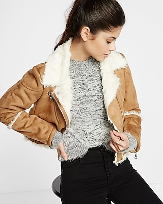 Express Womens Camel Faux Shearling Moto Jacket